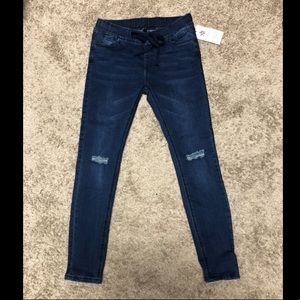 Denim - Distressed denim jogger/ jeggings with drawstring